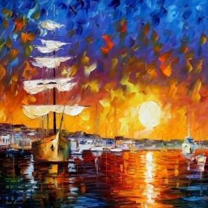 Renkli Kayıklar Gün Batımı Deniz Manzara Afremov 2 Dekoratif Kanvas Tablo
