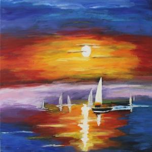 Renkli Kayıklar Gün Batımı Deniz Manzara Afremov 4 Dekoratif Kanvas Tablo