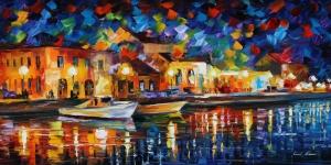 Renkli Kayıklar Gün Batımı Deniz Manzara Afremov 8 Dekoratif Kanvas Tablo