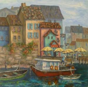 Renkli Kayıklar Yelkenliler Deniz Manzara 15 Dekoratif Canvas Tablo