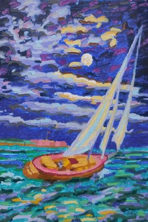 Renkli Kayıklar, Yelkenliler, Deniz Manzara 17 Yağlı Boya Sanat Kanvas Tablo