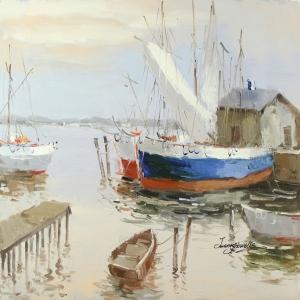Renkli Kayıklar Yelkenliler Deniz Manzara 3 Dekoratif Canvas Tablo