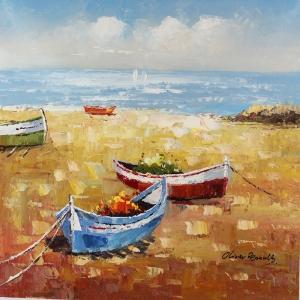 Renkli Kayıklar Yelkenliler Deniz Manzara 6 Dekoratif   Canvas Tablo