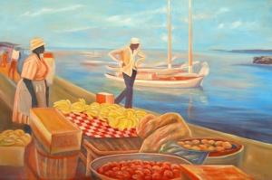 Renkli Kayıklar, Yelkenliler Deniz Manzarası 1 Yağlı Boya Sanat Canvas Tablo