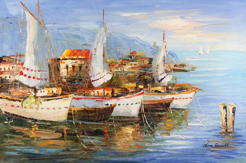 Renkli Kayıklar, Yelkenliler Deniz Manzarası 11 Yağlı Boya Sanat Canvas Tablo