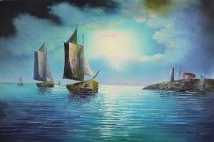 Renkli Kayıklar, Yelkenliler Deniz Manzarası 12 Yağlı Boya Sanat Canvas Tablo