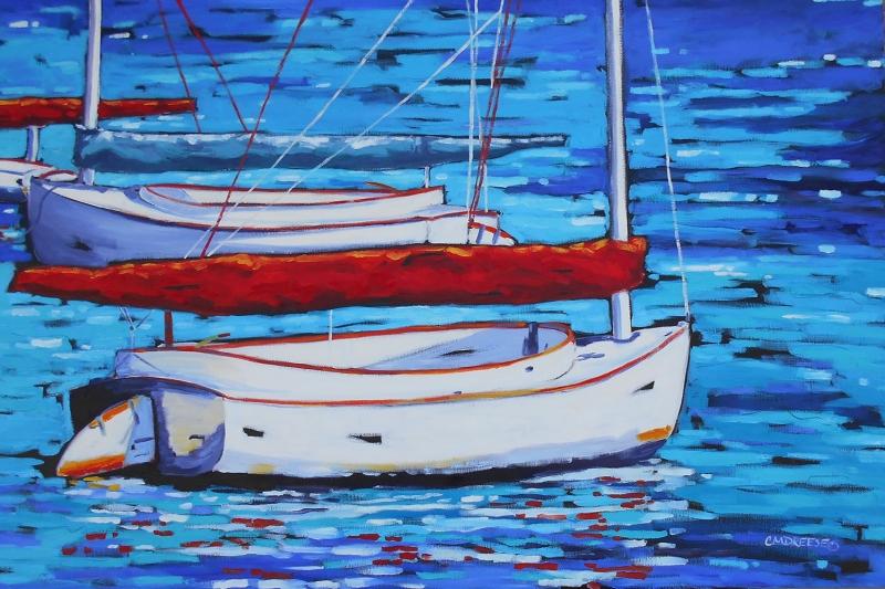 Renkli Kayıklar, Yelkenliler Deniz Manzarası 13 Yağlı Boya Sanat Canvas Tablo