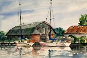 Renkli Kayıklar, Yelkenliler Deniz Manzarası 14 Sulu Boya Sanat Canvas Tablo