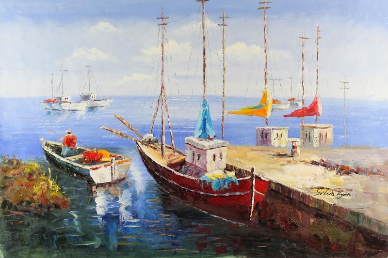 Renkli Kayıklar, Yelkenliler Deniz Manzarası 8 Yağlı Boya Sanat Canvas Tablo