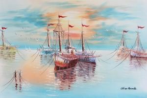 Renkli Kayıklar, Yelkenliler Deniz Manzarası 9 Yağlı Boya Sanat Canvas Tablo