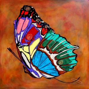 Renkli Kelebek Abstract Kanvas Tablo