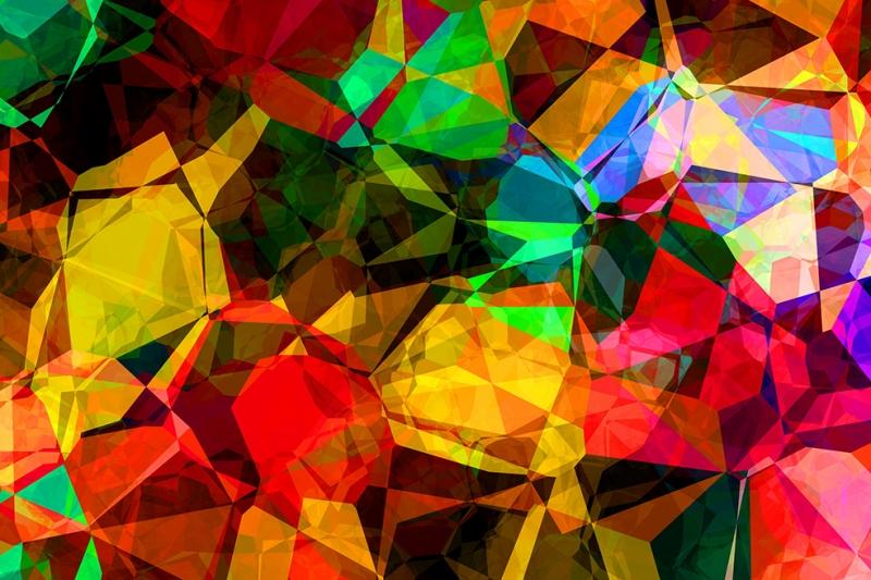 Renkli Kristal 2 Abstract Dijital ve Fantastik Kanvas Tablo
