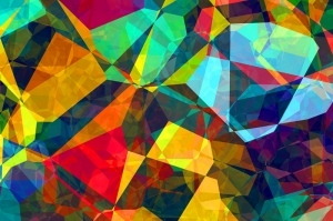 Renkli Kristal 3 Abstract Dijital ve Fantastik Kanvas Tablo