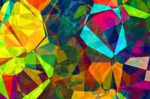 Renkli Kristal Abstract Dijital ve Fantastik Kanvas Tablo