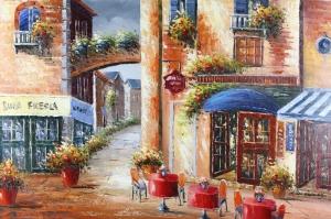Restaurant Paris, Sokak Manzarası 2 Yağlı Boya Dekoratif Kanvas Tablo
