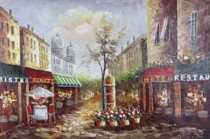 Restaurant Paris, Sokak Manzarası 3 Yağlı Boya Dekoratif Kanvas Tablo