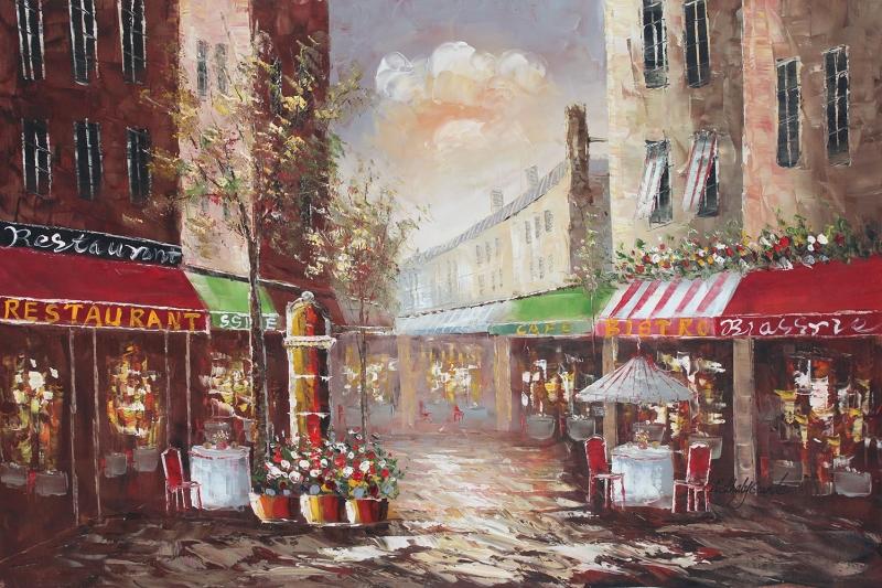 Restaurant Paris, Sokak Manzarası 5 Yağlı Boya Dekoratif Kanvas Tablo