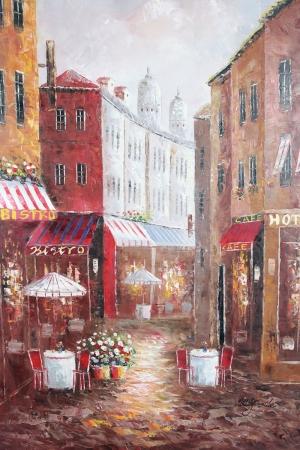 Restaurant Paris, Sokak Manzarası 6 Yağlı Boya Dekoratif Kanvas Tablo