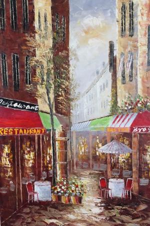 Restaurant Paris, Sokak Manzarası 7 Yağlı Boya Dekoratif Kanvas Tablo