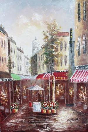 Restaurant Paris, Sokak Manzarası 8 Yağlı Boya Dekoratif Kanvas Tablo