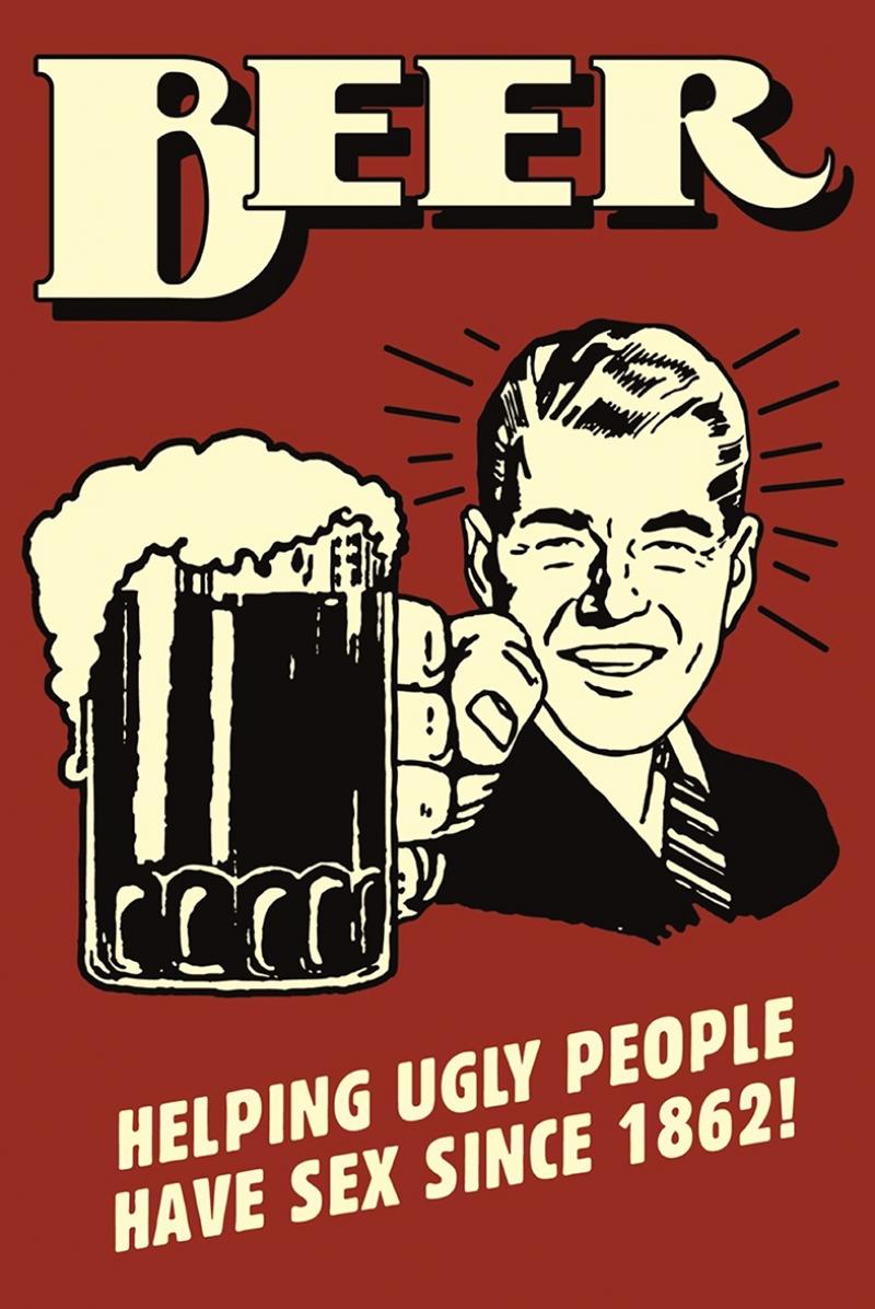 Retro Bira Çizim Poster Kırmızı Reklam Kanvas Tablo