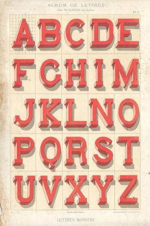 Retro Çizim Alfabe Eski Poster Kanvas Tablo
