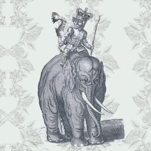 Retro Eski Çizim Fil ve Maymun Kanvas Tablo