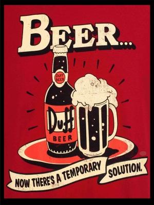 Retro Eski Poster Bira Kırmızı Kanvas Tablo