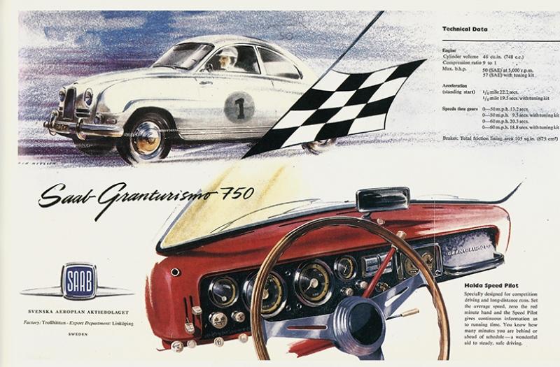 Retro Eski Poster Eski Otomobil Saab Nostaljik Kanvas Tablo