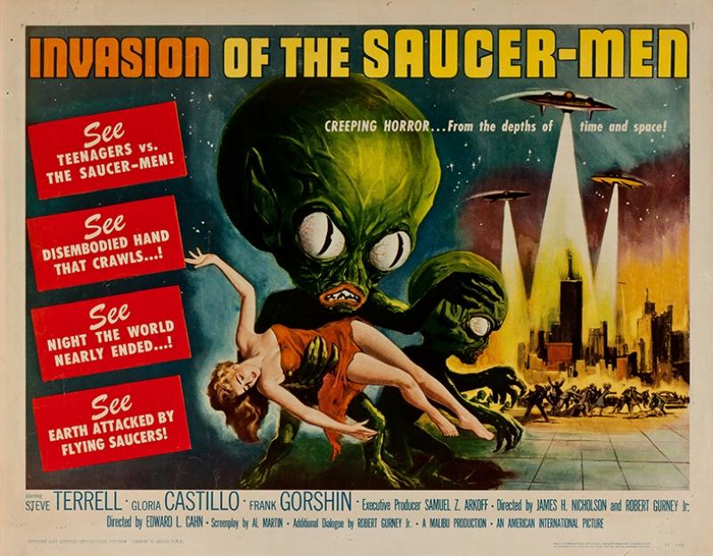 Retro Eski Poster Film Uzaylı Kız Kaçırma Kanvas Tablo
