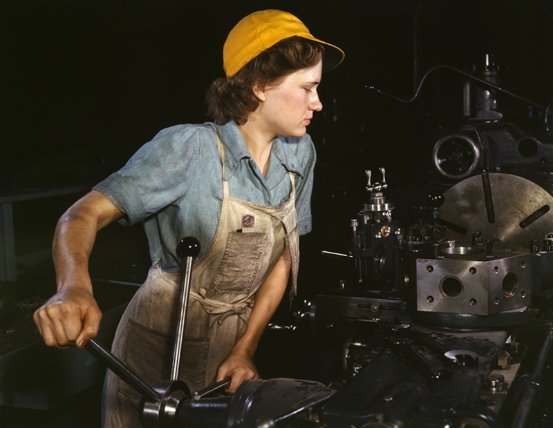 Retro Eski Poster İşçi Kız Fotoğraf Kanvas Tablo