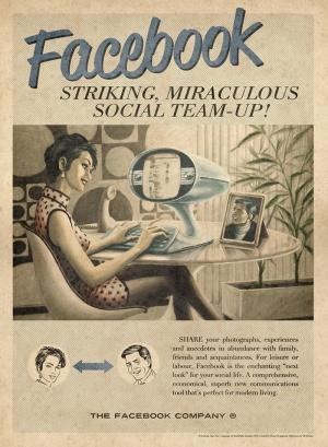 Retro Eski Poster Sosyal Medya Facebook Kanvas Tablo