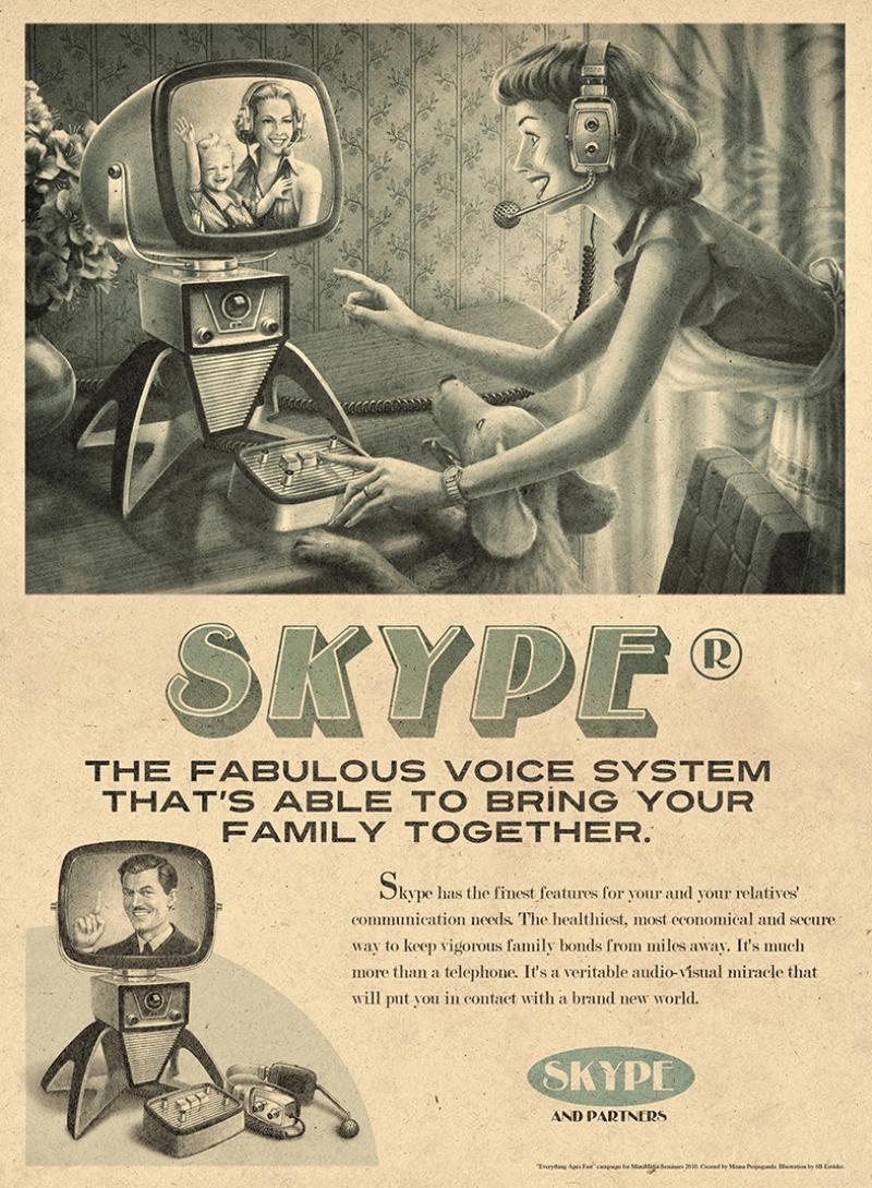 Retro Eski Poster Sosyal Medya Skype Kanvas Tablo