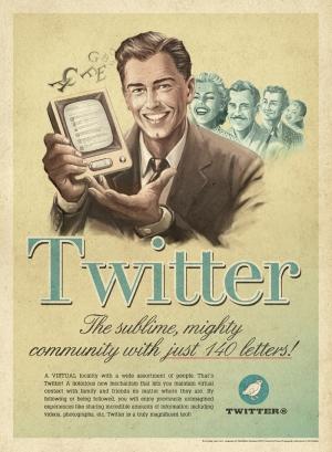 Retro Eski Poster Sosyal Medya Twittter Kanvas Tablo