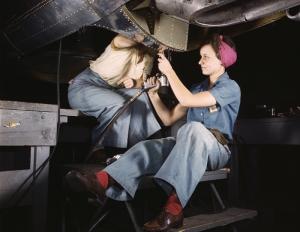 Retro İşçi Kadın 4 Fotoğraf Kanvas Tablo