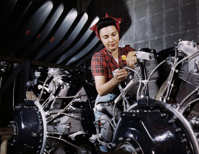 Retro İşçi Kadın 6 Fotoğraf Kanvas Tablo