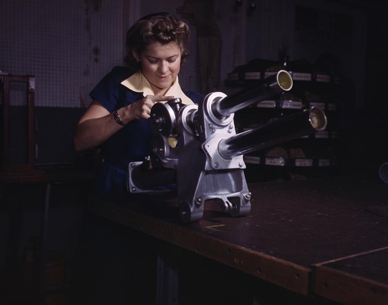 Retro İşçi Kadın Fotoğraf Kanvas Tablo