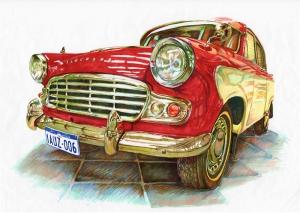 Retro Jaguar İllustasyon Otomobil Araçlar Kanvas Tablo