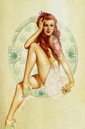 Retro Kız Eski Çizim-4 Poster Kanvas Tablo