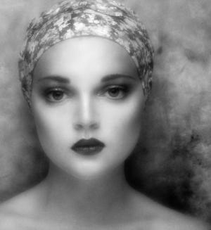 Retro Kız Siyah Beyaz Fotoğraf Kanvas Tablo