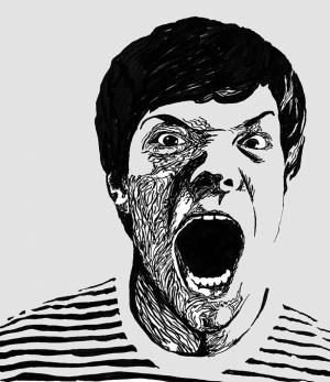 Retro Kızgın İnsan Çizim Siyah Beyaz Kanvas Tablo