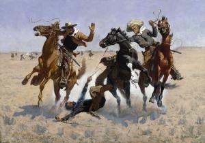 Retro Kovboylar Yağlı Boya Sanat Kanvas Tablo