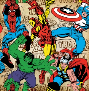 Retro Marvel Karakterleri Süper Kahramanlar Kanvas Tablo