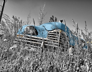 Retro Mavi Otomobil Siyah Beyaz Fotoğraf Kanvas Tablo