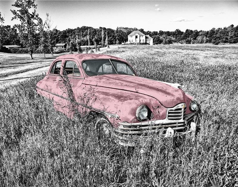 Retro Pembe Otomobil Siyah Beyaz Fotoğraf Kanvas Tablo