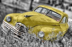 Retro Sarı Otomobil Siyah Beyaz Fotoğraf Kanvas Tablo