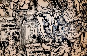 Retro Sprey Tablo Eski Tarz İnsan Çizim Kanvas Tablo