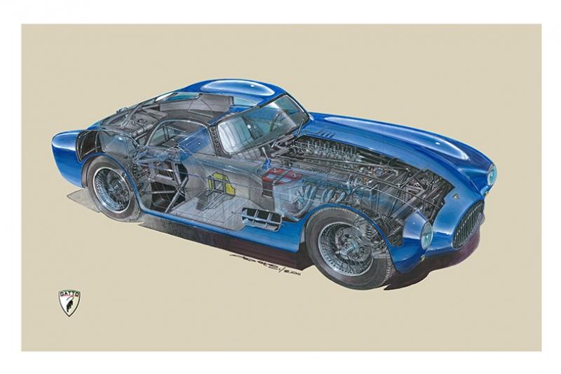 Retro Teknik Çizim Otomobil Araçlar Kanvas Tablo