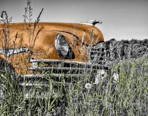 Retro Turuncu Otomobil Siyah Beyaz Fotoğraf Kanvas Tablo