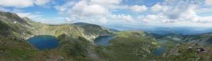 Rila Gölleri ve Dağ Manzarası Panaromik Kanvas Tablo